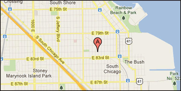 Map of location where a man was shot in the nose in the city's South Chicago neighborhood.