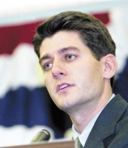 "Paul Ryan speaks at a debate in Wisconsin in 1998 during his first campaign for Congress. At the vice presidential debate, Ryan expects Joe Biden ""to come at me like a cannonball."""