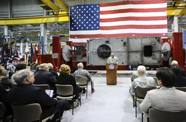 Letterkenny Army Depot Commanding Officer Col. Victor Hagan speaks at a ceremony Wednesday dedicating the depot's new route clearance vehicle positioner to the memory of U.S. Army Master Sgt. Benjamin F. Bitner, who was killed by an improvised explosive device in Afghanistan.