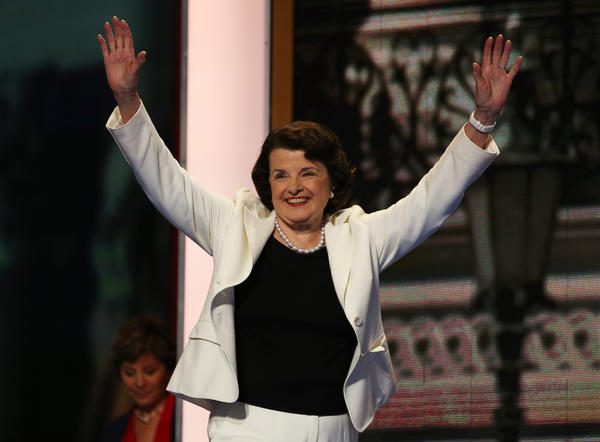 Sen. Dianne Feinstein is seen taking the stage during day two of the Democratic National Convention at Time Warner Cable Arena in Charlotte, N.C.