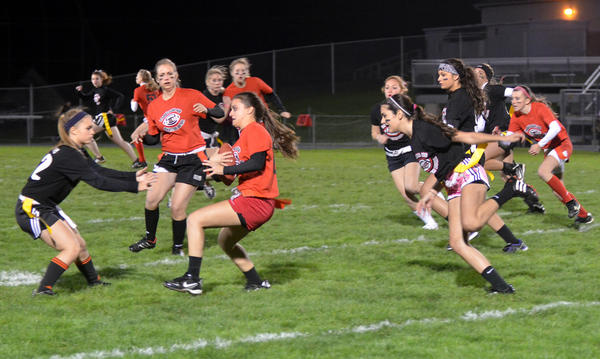 Parkland seniors play flag football against Parkland sophomores during Parkland's 18th Annual Garter Bowl, a girls powder puff flag football event on Wednesday. PM. Each year PHS Student Council selects a charity to receive all of the proceeds from the event. This year's event will support the Lehigh Valley Zoo.