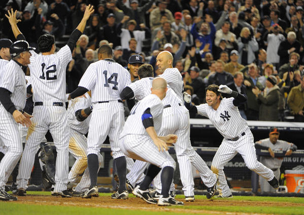 Yankees Raul Ibanez hits a game winning homer off Orioles' Brian Matusz in the bottom of the 12th inning, his second homer of the game. Baltimore Orioles vs. New York Yankees in game three of the ALDS at Yankee Stadium.