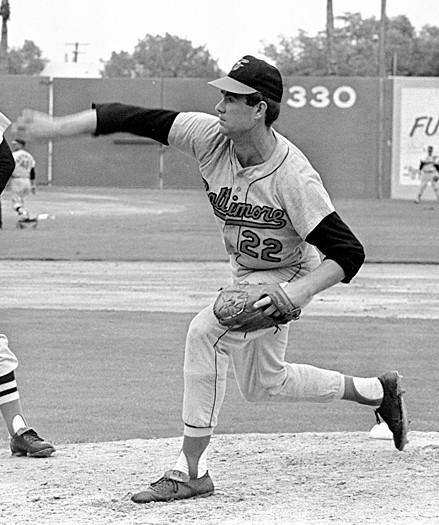Starting pitcher Jim Palmer, shown here at spring training in 1969, tossed a complete game, but the Orioles lost, 1-0 in Game 3 of the American League Championship Series on Oct. 8, 1974. Oakland Athletics third baseman Sal Bando hit a solo home run in the top of the fourth inning at Memorial Stadium, putting the Orioles in a 2-1 deficit in a series they would eventually lose on the next day.
