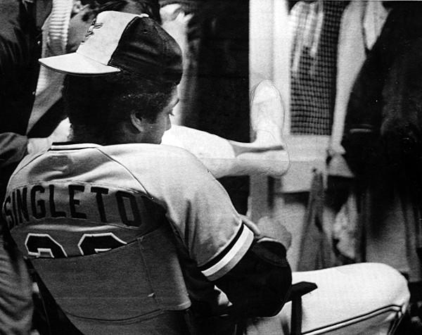 Orioles right fielder Ken Singleton sits at his locker in Memorial Stadium after the Orioles lost Game 7 of the World Series on Oct. 17, 1979. The Orioles were one win away from winning the series when they dropped the final three games, including the series-clinching game, 4-1. The Pirates' Willie Stargell was named World Series Most Valuable Player after hitting three home runs in the series, including a sixth-inning, two-run shot in Game 7.
