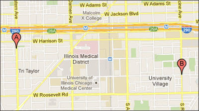 A map of two separate robberies near the UIC campus this week.