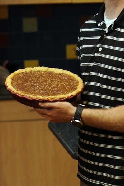 Matt Mellody, Pembroke Pines, poses with his Caramel Pecan Apple Pie  during the Sun Sentinel Blue Ribbon Thanksgiving Bake-Off at Publix in Plantation. Photo by Josh Ritchie
