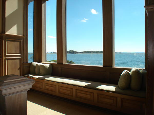 Cozy window seat overlooking Long Island Sound and Norwalk Islands