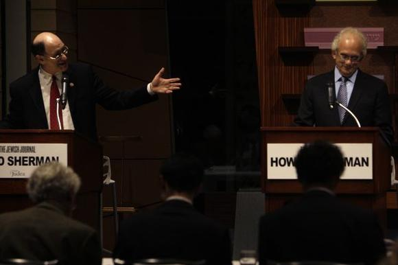 Reps. Brad Sherman, left, and Howard Berman at a candidates forum earlier this year.