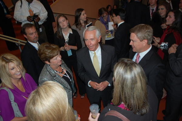 Gov. Steve Beshear, center, was on hand for Wednesday night¿s media reception at Centre College.