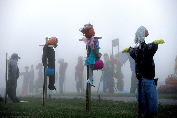 Scarecrows were lined up at Beech Springs Farm Market on Old Boonesboro Road Thursday morning. The Scarecrows are part of the scarecrow contest at the annual Scarecrow Festival to benefit STRIDE. The festival will be at 11 a.m. Saturday. Admission is $5 per family and includes lunch.