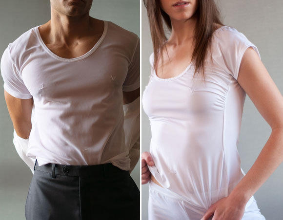 From left, the men's magical cotton top, $36; and the women's magical top, $46; both available on Mormonssecret.com.