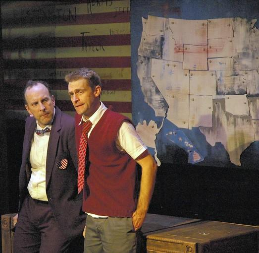 "Joe Dempsey and Ryan Walters in The Neo-Futurist production of ""44 Plays for 44 Presidents."""