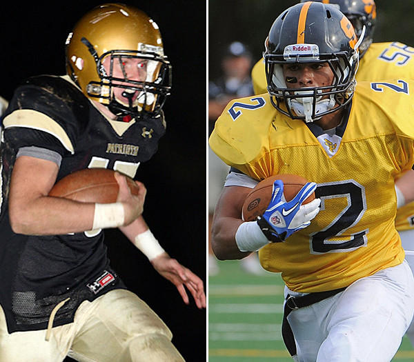 John Carroll's Austin Markley, left, and St. Paul's Dale Harris, right, lead their respective teams into the matchup of unbeaten MIAA B Conference squads.