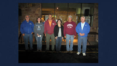 Jack Turner, on left and Jim Boyer, on far right are shown presenting donations of $500 each from the Johnstown Street Survivors Car Club to area nonprofit groups. Receiving donations are: Jennifer Rovan, the Cambria County Humane Society; Rick Burgess, the Windber American Legion Post 137 Handicapped Accessible Project; Angelina Shilcosky, the Leukemia Lymphoma Society, and Carmen Perigo, accepting on behalf of Hearts and Hammers (Boswell Churches Street Fair).