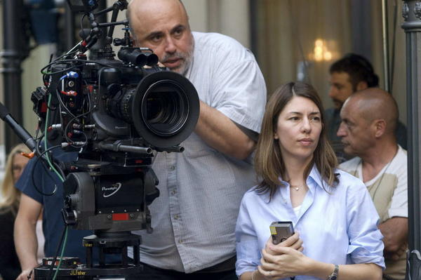 "Director of photography Harris Savides (left) and director Sofia Coppola (right) on the set of the movie ""Somewhere."""