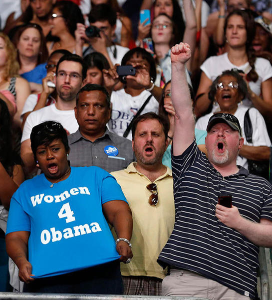 Supporters yell for U.S. President Barack Obama as he speaks in the BankUnited Center at the University of Miami in Coral Gables, Florida, October 11, 2012.