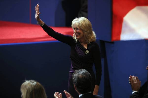 Biden and Ryan face off: Dr. Jill Biden, wife of Vice President Joe Biden, waves to the crowd before to the vice presidential debate.