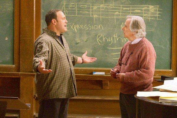 "Inside the school music room, Scott (Kevin James), left, tells Marty (Henry Winkler) about his MMA plan in ""Here Comes the Boom."""