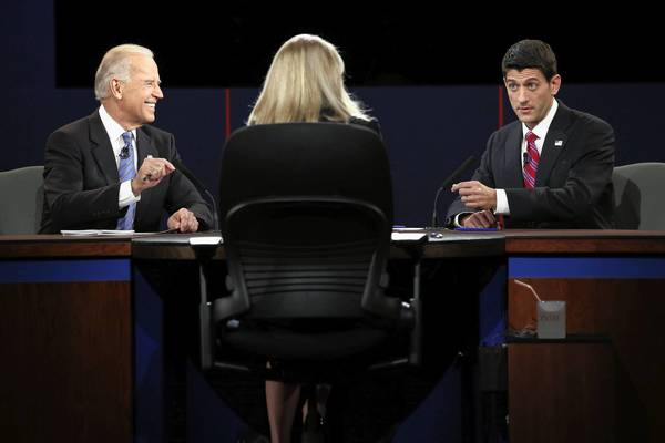 Biden and Ryan face off: U.S. Vice President Joe Biden and Republican vice presidential candidate U.S. Rep. Paul Ryan (R-WI) participate in the vice presidential debate with moderator Martha Raddatz.