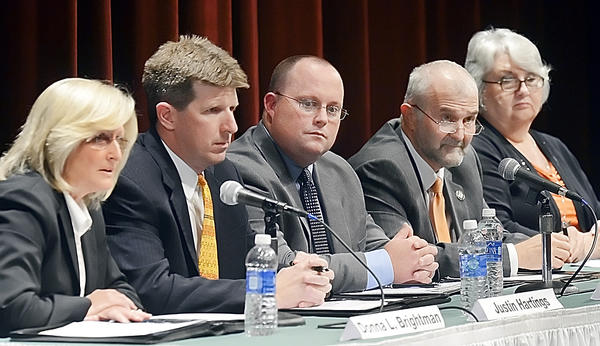 Washington County Board of Education candidates participate in a forum at Hagerstown Community College on Thursday evening sponsored by The Herald-Mail. They are, from left, Donna Brightman, Justin Hartings, Travis Poole, Wayne Ridenour and Melissa Williams.