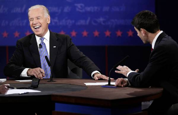 Biden and Ryan face off: U.S. Vice President Joe Biden laughs during the debate with Republican vice presidential nominee Paul Ryan.