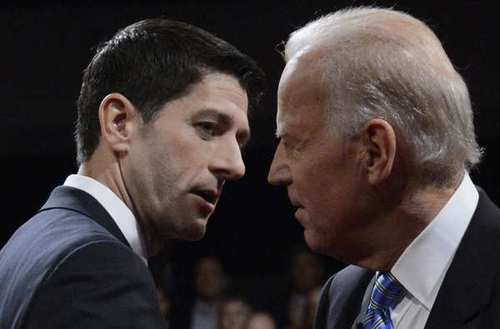 Republican vice presidential candidate Paul D. Ryan and Vice President Joe Biden shake hands after their debate at Centre College in Danville, Ky.