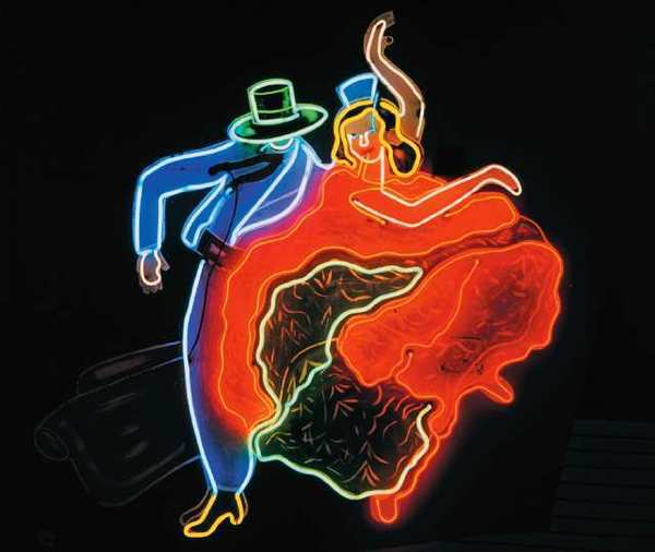 Classic neon signage from Glendale's La Fonda dancers, from the collection of the Museum of Neon Art.