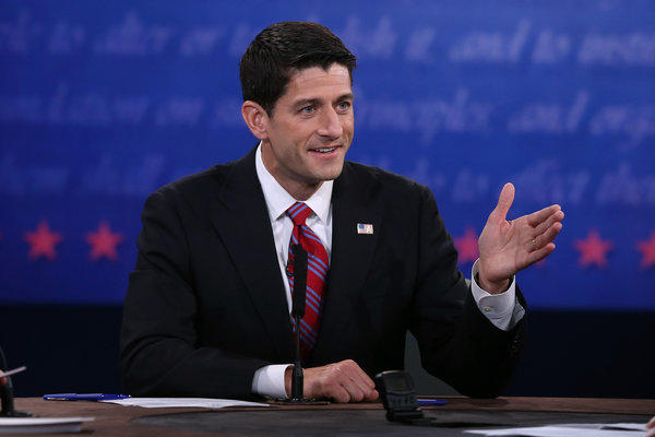 Rep. Paul Ryan (R-Wisc.) speaks during the vice presidential debate at Centre College in Danville, Ky.