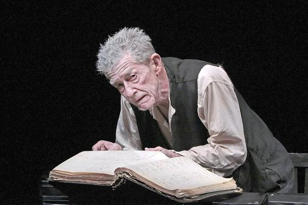 "John Hurt, bearing a striking resemblance to the playwright, performs ""Krapp's Last Tape"" by Samuel Beckett at the Kirk Douglas Theatre."