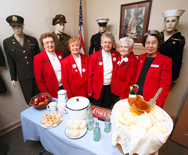 The World War II Red Cross Pheasant Canteen ladies, from left, Patsy Weigel, Marilee Frankenberger, Lila Schwalbe, Ruth Casanova and Vera Lilly, will be receiving an award for creating a display to remember the canteen where pheasant sandwiches were served to World War II soldiers passing through.