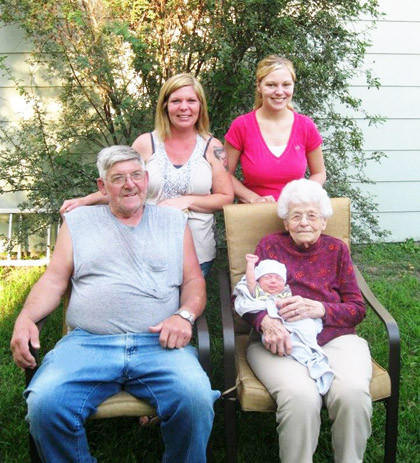 Members of this family recently gathered for a five-generation photo. Back row, from left: grandmother Cindy Wilson and mother Kelsey Bistodeau. Front row, from left: great-grandfather Wayne Wilson and great-great-grandmother Ilene Weber, holding infant Bradyn.