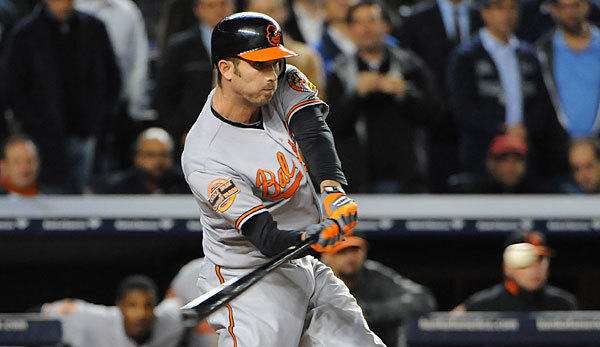 The Orioles' J.J. Hardy connects for a double to drive in Manny Macado for the game-winning run in the 13th inning against the Yankees in Game 4 of the ALDS.