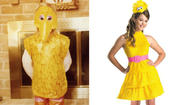 See that above? On the right, you have the present-day girls' Big Bird costume. On the left? That's me in the 1982 version of the girls' Big Bird costume. Wait, my bad. Back then, it was just a Big Bird costume, no gender roles necessary.