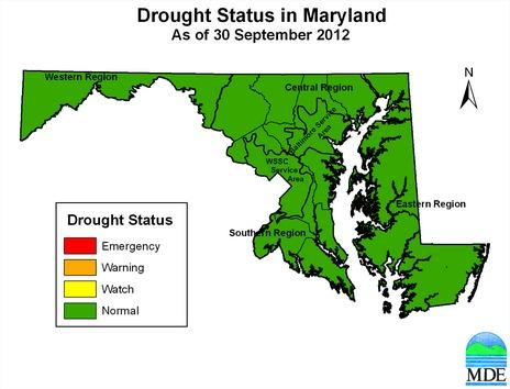 All of Maryland has returned to normal conditions after drought watches and warnings persisted for the spring and summer.
