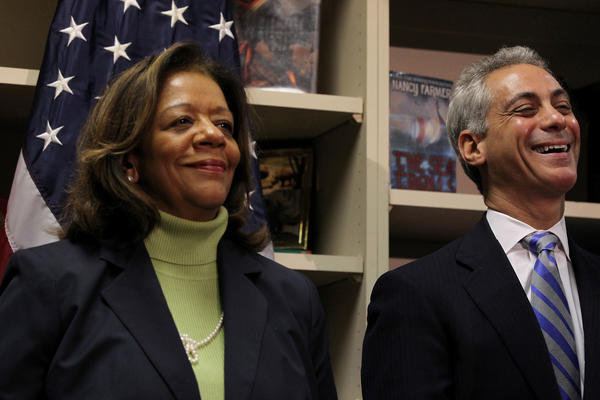 Mayor Rahm Emanuel introduces Barbara Byrd-Bennett as the new Chicago Public Schools CEO at South Loop Elementary School in Chicago today.