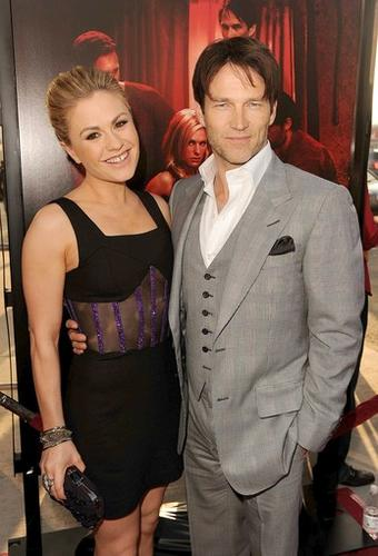 """Actors Anna Paquin and husband Stephen Moyer, who play Sookie Stackhouse and Bill Compton, respectively, attend the premiere at the Arclight Cinerama Dome in Hollywood. Moyer says a romance between Sookie and the Viking Eric Northman would be """"<a href=""""http://herocomplex.latimes.com/2011/06/21/true-blood-stephen-moyer-sookie-and-eric-romance-will-be-great-for-the-show/"""">great for the show</a>."""""""