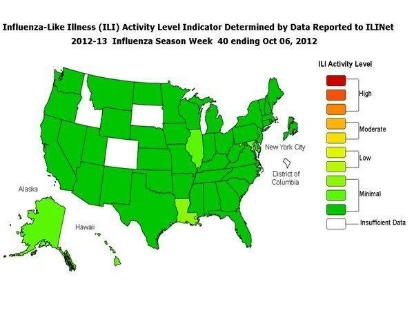The CDC's first FluView for the influenza season reported illness to be minimal to low throughout the U.S. -- so far.