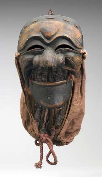 Mask of the Depraved Monk, Korea, Hahoe, 20th C.Alder wood, lacquer, mulberry paper, cotton, Pacific Asia Museum Collection, Gift of Richard and Adoree Suran.