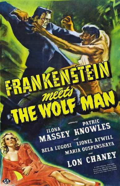"The one sheet for ""Frankenstein Meets the Wolf Man."" The movie screens Oct. 27 at the Alex Theatre."
