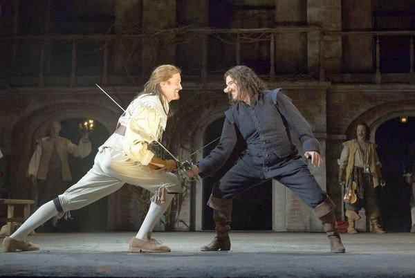 "Samuel Roukin, left, and Douglas Hodge in ""Cyrano de Bergerac"" at the Roundabout Theatre Company."