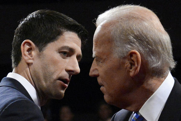 Vice President Joe Biden and Republican vice presidential candidate Paul Ryan shake hands following their vice presidential debate on Oct. 11.