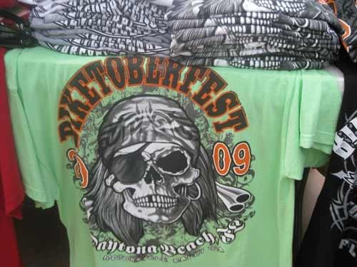 T-shirts available at Biketoberfest 2009, the annual fall motorcycle festival in Daytona Beach.