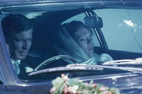 An Aston Martin DBS figures in what may be the most tragic scene in a 007 film. James Bond (George Lazenby) and his bride Tracy (Diana Rigg) are parked on the roadside after their wedding when they're shot at by henchwoman Irma Bunt from a car driven by nemesis Ernst Stavro Blofeld. Bond, thinking they've both survived the attack, climbs inside to find that Tracy has been killed.