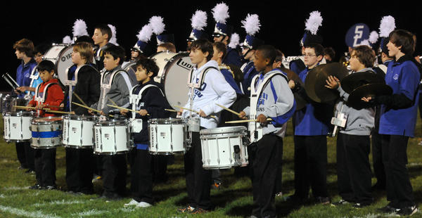 Southern Lehigh's Middle School Band joined with the Southern Lehigh High School band to play during halftime at football game on Friday at Southern Lehigh High School stadium.