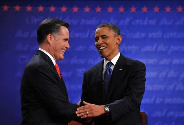 President Obama and Mitt Romney shake hands following their first debate at the University of Denver in Denver in Colorado on Oct. 3.