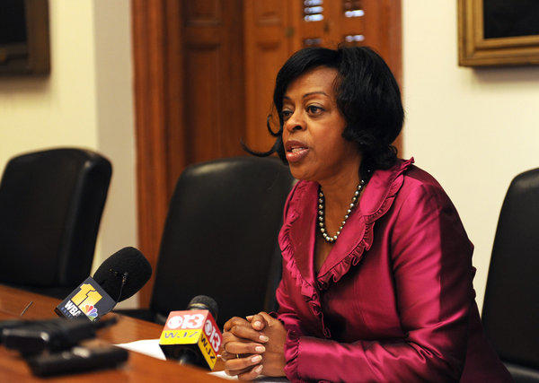 Baltimore City Comptroller Joan Pratt at a press conference at City Hall regarding the mayor's purchase of phones which she says might have violated city procurement regulations.