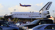 Shuttle Endeavour takes a break at Westchester shopping center