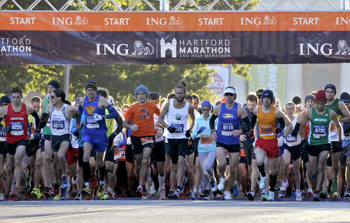 Scene from the start of the Hartford Marathon Saturday.