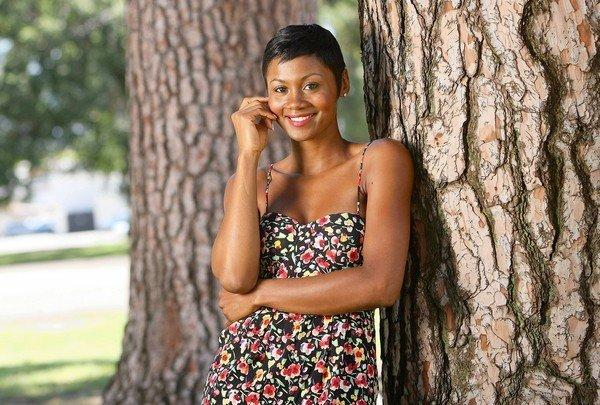 "Actress Emayatzy Corinealdi, who makes her debut in the film ""The Middle of Nowhere,"" in North Hollywood Park."