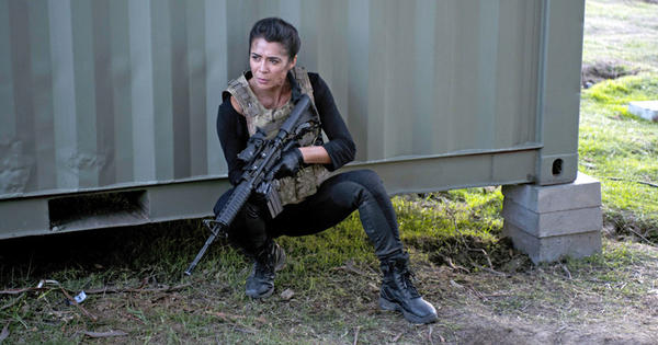"Michelle Lukes plays Sgt. Julia Richmond in Cinemax's ""Strike Back."""